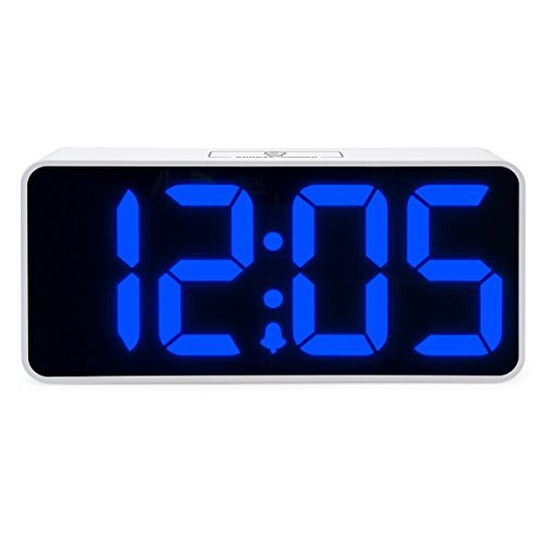 Jumbo LED Digital Alarm Clock for Heavy Sleepers - Desk, Office, and Bedroom Alarm Clocks with Extra USB Port - Comes with Adjustable Volume and Dimmable Light by JCC- Great For Seniors, Kids - Blue