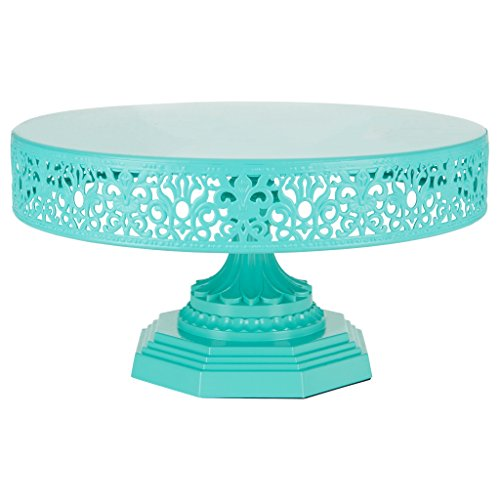 Plate Serving Pedestal (Isabelle Collection Teal 12 Inch Metal Cake Stand, Round Wedding Birthday Party Dessert Cupcake Pedestal Display Plate)