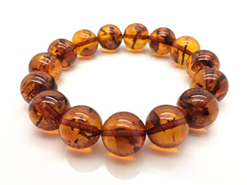 Natural Baltic Amber Bracelet Light Cognac Colour 20,6g 13± Mm Size.