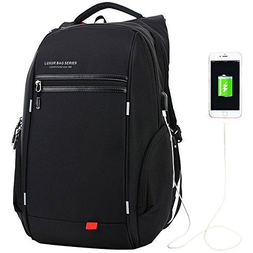 LUXUR 37L Nylon Waterproof Laptop Backpack Casual School Business Travel Daypack