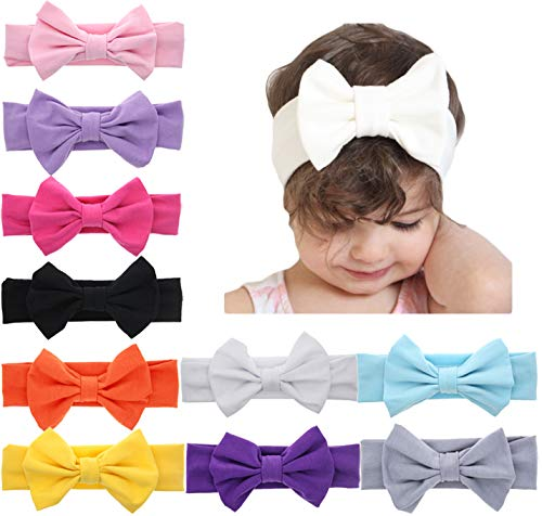 Ribbon Bow Headband - DANMY Baby Girl Nylon Headbands Newborn Infant Toddler Hairbands with Bows Children Hair Accessories (Bow (10pcs))