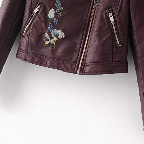 Casual with Coats Floral Down Outwear Jackets Zipped Autumn Short Turn Winter Red Large Pockets Cool Sleeve Girls Womens Outerwear MIRRAY Collar Long Solid Size Faux Leather Embroidery qAUPgAx