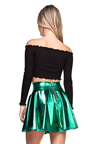Women's J2 Love Faux Leather Back Gold Zip Mini Skater Skirt, Small, Green Metallic]()