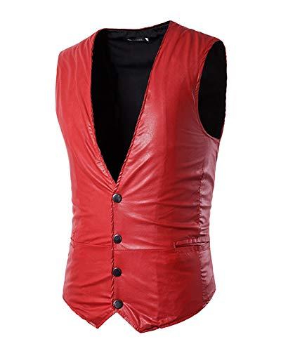 Rouge Faux Costumes Veste Vintage Gilet De Cuir Fit Casual Homme Slim wUpZZq