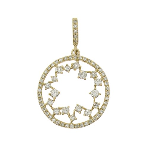 14k Yellow Gold Starburst Diamond Fashion Pendant with 18