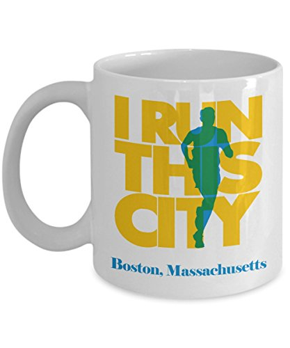 I Run This City Running Coffee & Tea Gift Mug For A Long Distance Marathon Runner In City Of Boston, Massachusetts