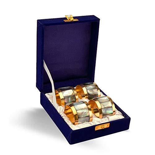 - MarktSq Set of Four Black Mother of Pearl Napkin Rings in Presentation Box