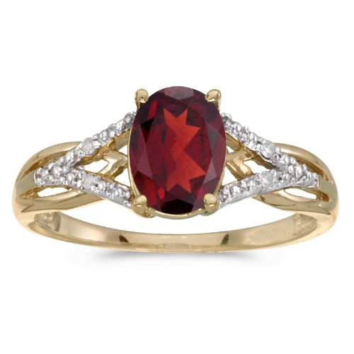 10k Yellow Gold Oval Garnet And Diamond Ring (Size 9.5)