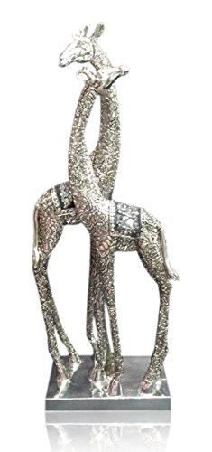 Silver Plated Giraffe Couple Christmas Velantine Love Romantic Gift Resin Figurine Home Decorative Accessories Home Decor Figure (Velantine Gift)
