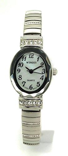 Ladies Elegant Classic Small Oval Stretch Elastic Band Fashion Watch Wincci (Silver)
