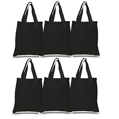 SET OF 6 - Reusable 100% Cotton Canvas Tote Bags By BagzDepot | Convenient & Environmentally Friendly Grocery & Shopping Bags | Budget Friendly, Wholesale, Thick Bags (Black)