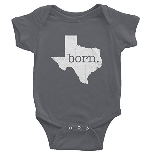 - Texas Born - Texas State - Distressed Print - Onesie Baby Gift T-Shirt - Charcoal