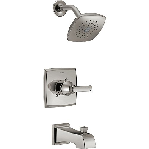 Delta Ashlyn Modern Stainless Steel Finish 14 Series Watersense Single Handle Tub and Shower Combination Faucet INCLUDES Rough-in Valve D1170V