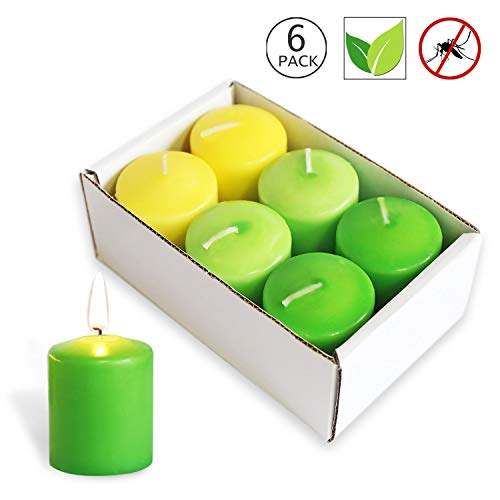 XYUT Votive Citronella Candles Scented Indoor Outdoor Use - - Authentic Citronella - 10 Hour Burn Time, Set of 6