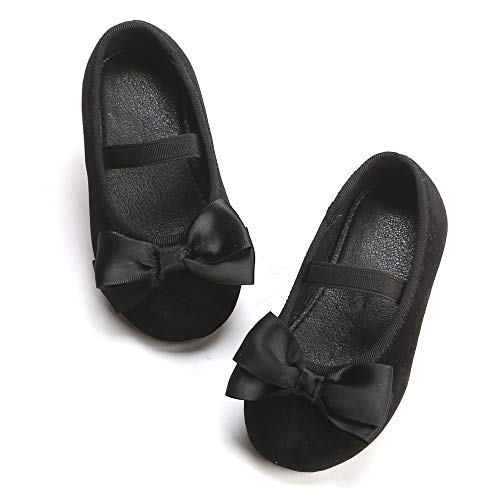Bear Mall Girls' Shoes Girl's Ballerina Flat Shoes Mary Jane Dress Shoes (10 M US Toddler, B803 Black)
