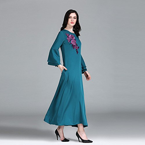 Pink Indigo Applique 2L Sleeve in Long Loose Cuff Birdfly Plus Women Wide Blue and Dress Size Floral Long OBw4aW