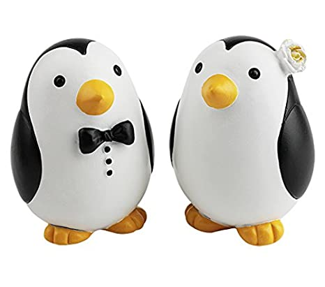 Amazon.com: Wedding toppers Small Couple Penguins, Unique Mr and Mrs ...