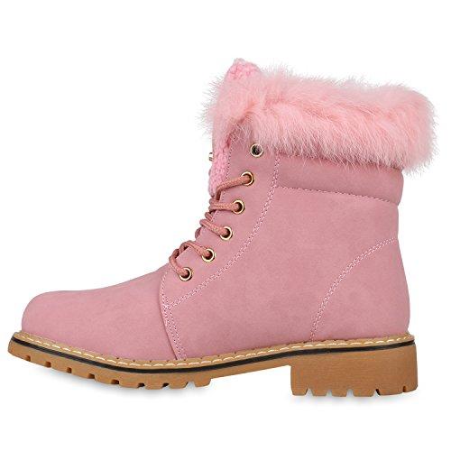 Stiefelparadies Warm Gefütterte Damen Stiefeletten Fell Worker Boots Outdoor Schuhe Flandell Rosa Brooklyn