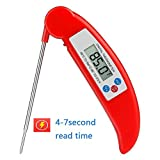 IWOCH Digital Food Cooking Thermometer Instant Read Meat Thermometer with Collapsible Internal Probe for Kitchen Grill BBQ Candy Making Smoker Milk Tea Red