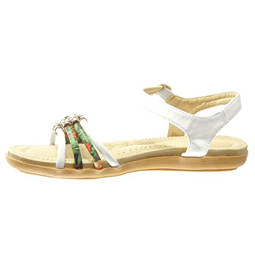 Angkorly - Scarpe da Moda sandali donna tanga fiori strass Tacco tacco  piatto 2 CM ...