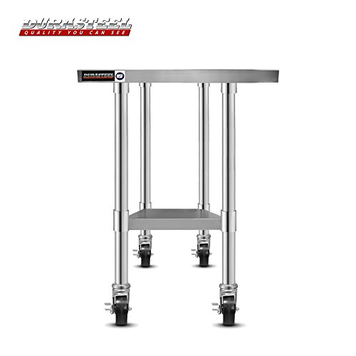 DuraSteel Worktable Stainless Steel Food Prep 24'' x 12'' x 34'' Height With 4 Caster Wheels Work Table- Commercial Grade Work Table - Good For Restaurant, Business, Warehouse, Home, Kitchen, Garage by DuraSteel (Image #1)