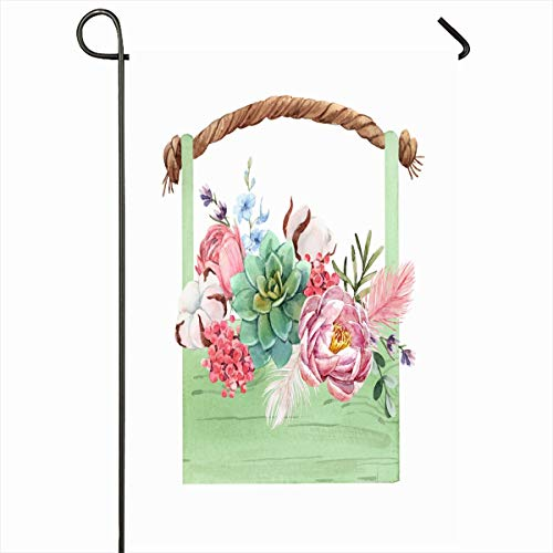 Ahawoso Seasonal Garden Flag 12x18 Inches Pink Apostate Watercolor Spring Floral Flower Bouquet Girls Holidays Aerostat Balloon Nature Basket Home Decorative Outdoor Double Sided House Yard Sign