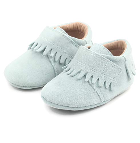 (XO Kids Baby Moccasins: Genuine Suede Leather Baby Moccasins in Aqua (Large, Aqua))