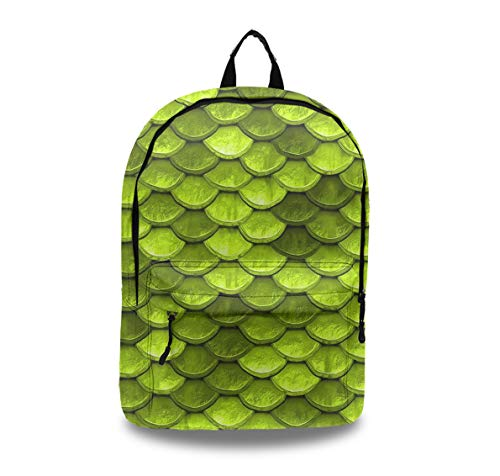 Scale Sandbag - Durable PU Leather Backpack Anti Theft Business Backpack School College Bookbag Laptop Computer Bag Beautiful Lime Green Mermaid Fish Scales Travel Backpack with Headphone Port