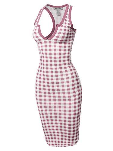 Sexy Solid Split Neck line Front Bodycon Midi Dress Mauve ()