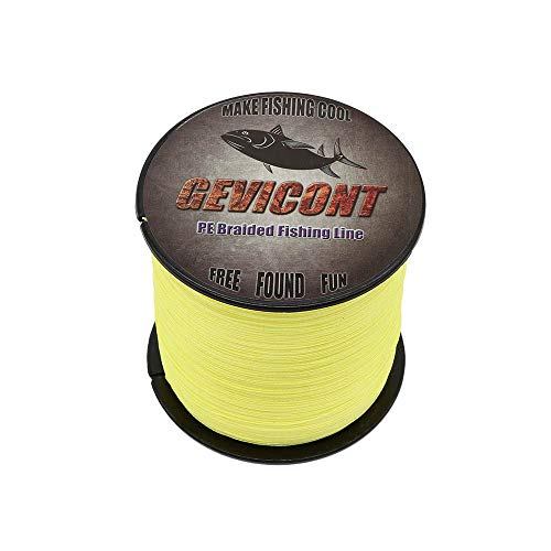 GEVICONT Braided Lines Smaller Diameter Fishing Wire PE Material 4 Strands 300 M/328 Yd 500 M/547 Yd 1000 M/1094 Yd 10lbs-100lbs Multiple Colors Available for Saltwater & Fresh Water