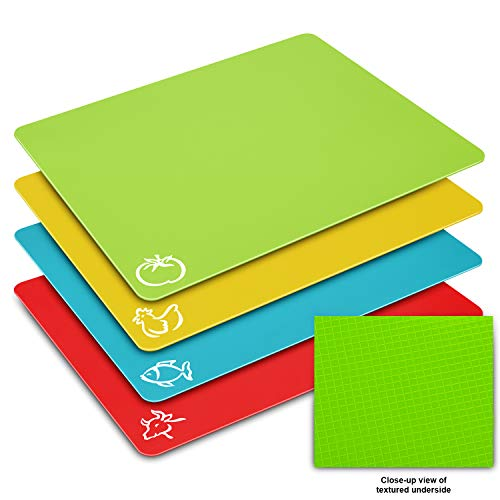 - Flexible Cutting Board Mats Set, HISRAY Premium Plastic Chopping Board Easy to Clean, 4 Colored Reversible & Eco Friendly Mats with Food Icons Extra Large Size 15'' x 12'' for Kitchen Bar,BBQ,Boat,RV