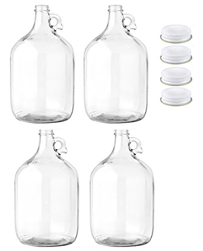 - Home Brew Ohio Glass Water Bottle, Includes 38mm Metal Screw Cap, 1 gal Capacity (Pack of 4)
