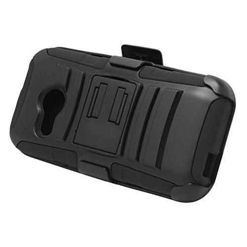 HTC One Remix (Verizon) - Black Impact Armor Kickstand Hybrid Cover Case + Locking Swivel Belt Clip Holster + Atom LED Keychain Light