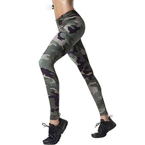 - WNDSYN Women Yoga Pants Camouflage Printed Fitness Elastic Leggings Tights Running Sports Pants Stretched Gym Sportswear Green L