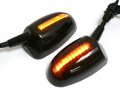 Black Chrome Amber Led Light Lamp Motorcycle Rear View Mirrors Universal Fits 6mm Thread New