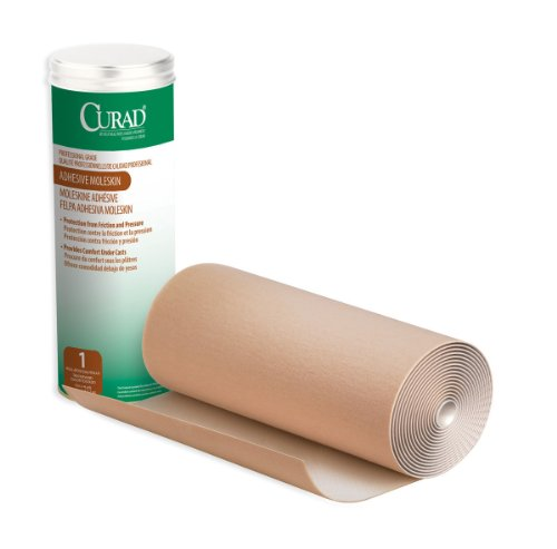 CURAD Adhesive Moleskin Roll, Prevent Blisters, Corns and Calluses, 9