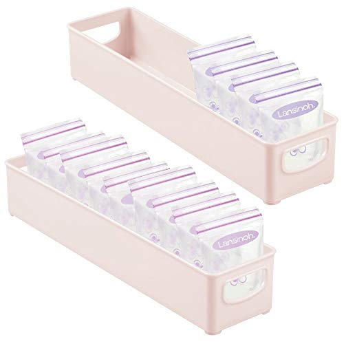 mDesign Storage Organizer Bin for Kitchen Cabinet, Pantry, Refrigerator, Countertop – BPA Free – Breast Milk, Bottles, Sippy Cups, Kids/Toddlers Food Pouches, Baby Food Jars, 2 Pack – Light Pink/Blush
