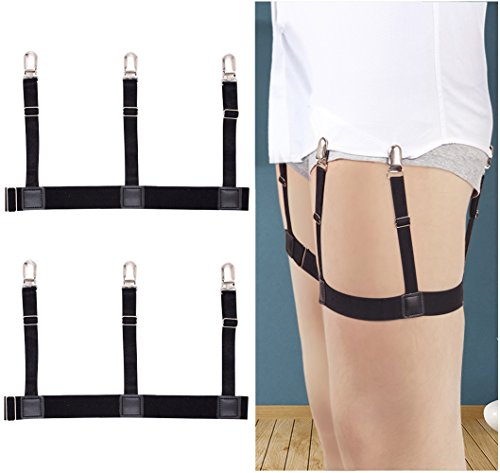 Mens Shirt Stays Garters Suspenders Shirt Holder Straps Non-slip Locking Clamps by Darller