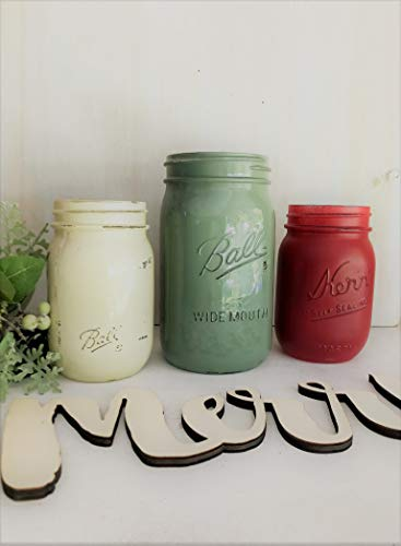 Painted and Distressed Mason Jar Centerpiece Set For Party Rustic Christmas Home Decor