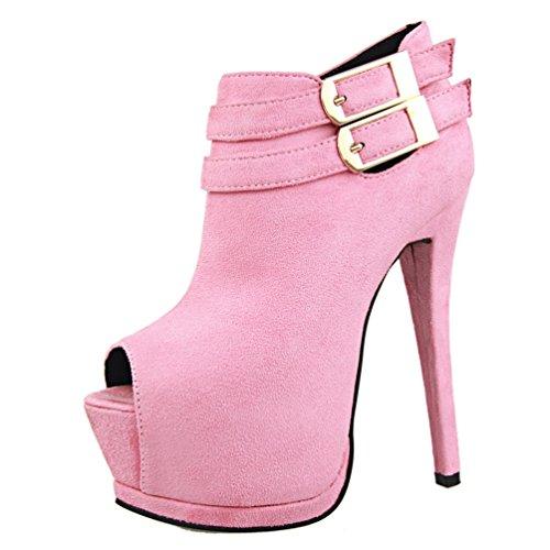 HooH Reißverschluss Schnalle Platform Damen Rosa Peep Toe Stiefeletten r84zrq