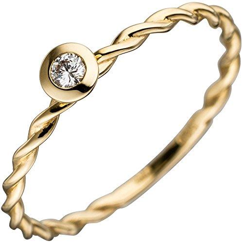 Bague solitaire Bague pour femme avec diamant brillant en or jaune 585torsadée Bague