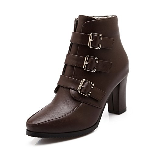 BalaMasa Urethane Womens Boots Resistant Casual Slip ABL10351 Buckle Brown vq1gfvxwr