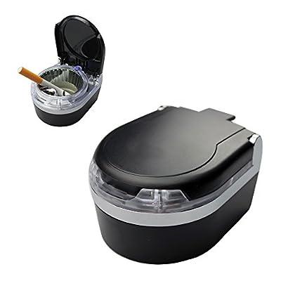 YamaziHD Mini Portable Car Ashtray Blue LED Light for Dashboard Cigar Cigarette (Black): Automotive