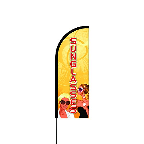 AAA Outdoor Advertising Flex Banner, Swooper / Feather Flag, Includes 14' Feet Carbon Composite Flag Pole Kit w/ Ground Spike / Mount, Best for Marketing, Fairs, Events - - Custom Sunglasses Imprinted