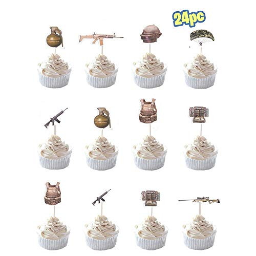 24 Pcs PUBG Player Unknown's Battlegrounds Kid Cake Toppers Gamer Happy Birthday Party and Event Decorations Supplies Decoration Winner Winner Dinner Chicken Video Game Lovers Cupcake Picks Favor ()