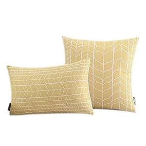 Juego de 2 SKT® hojas de algodón/lino diseño geométrico Decorrative funda de almohada