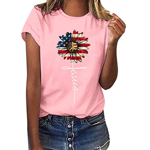 (Graphic t Shirt for Women,SMALLE◕‿◕ Women Sunflower Flag Printed Tee Plus Size Short Sleeve Blouse Tops - July 4th Pink)