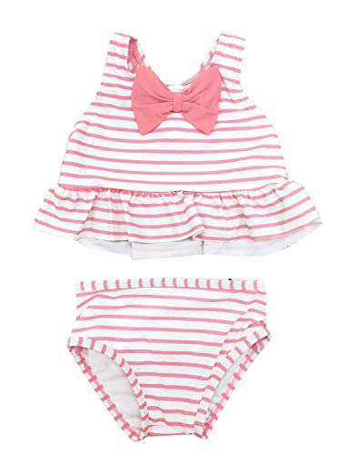 ACKKIA Baby Toddler Girls Stripe Ruffle Two Piece Tankini Set Racerback Swimsuit Pink Color Size 18M (Fits 12-18 Months)