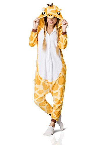 Nothing But Love Adult Giraffe Onesie Pajamas Kigurumi Animal Cosplay Costume One Piece Fleece Pjs (M, Yellow, White) by Nothing But Love (Image #5)