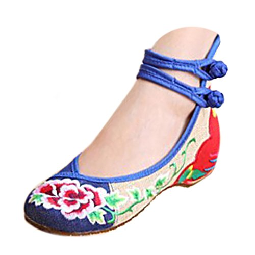 Chaussures Florales Chinoises Brodées Vintage Femme TANHUA Ballerines Mary Jane Ballerine Flat Ballet Cotton Loafer Bleu